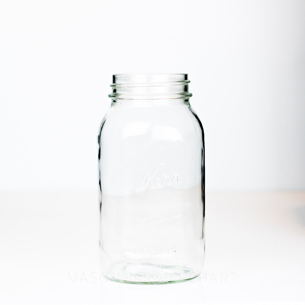 Regular mouth quart mason jar with Kerr self-sealing logo against a white background