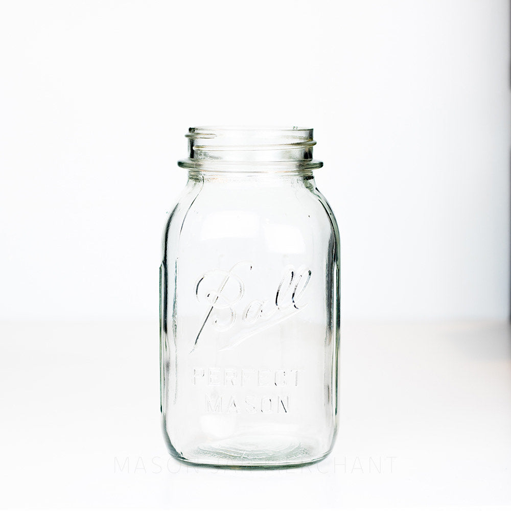 Regular mouth quart mason jar with Ball Perfect Mason logo, against a white background
