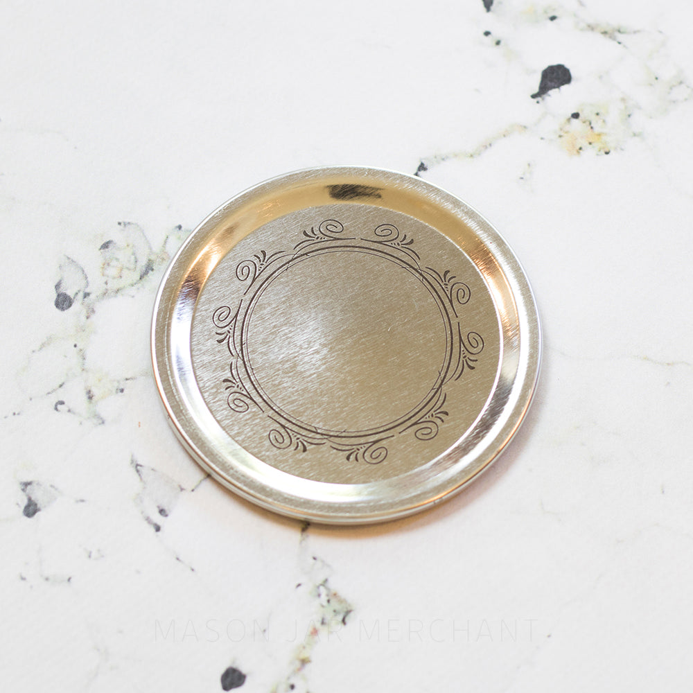 Silver Wide Mouth Canning Lid With Wreath Pattern