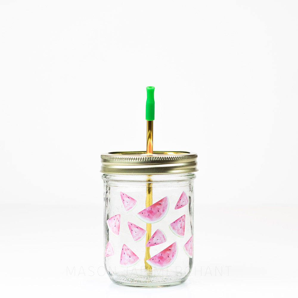 watercolor watermelons reusable glass mason jar tumbler with straw lid and reusable straw