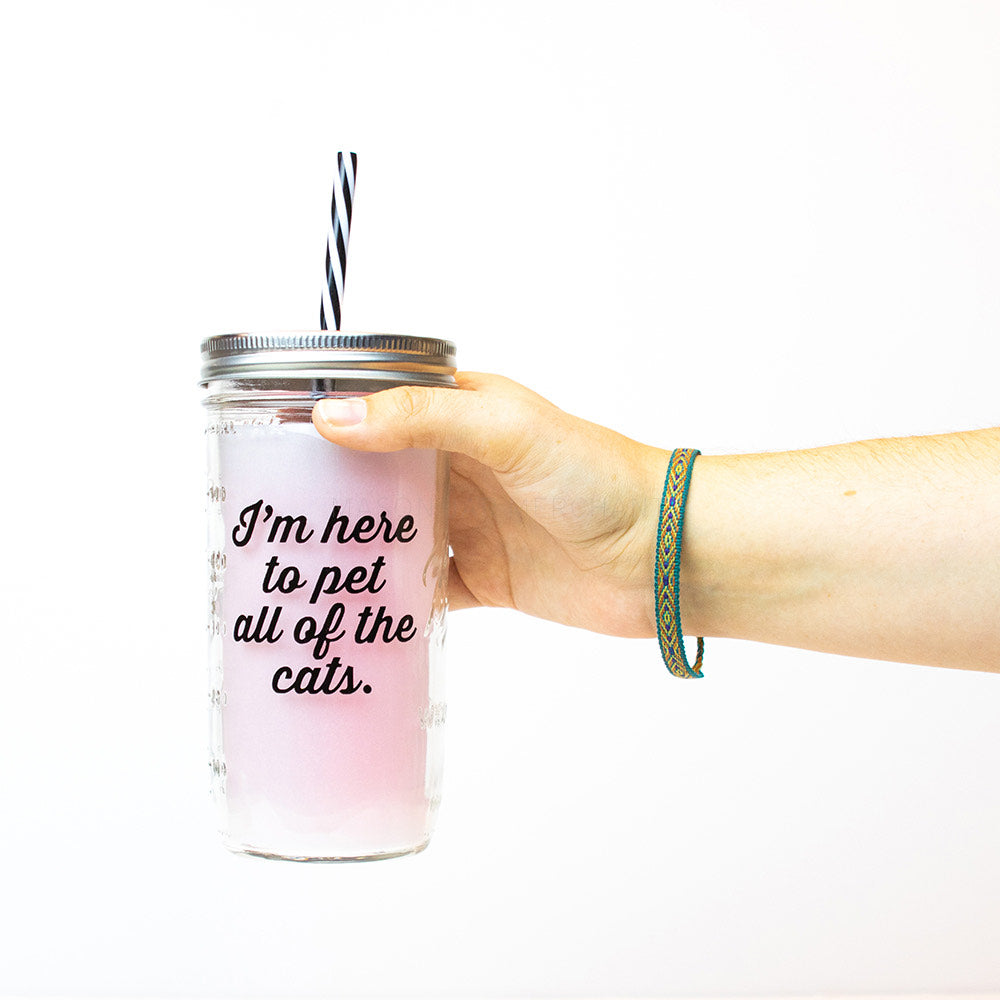 "a hand holds a 24 oz reusable glass mason jar tumbler with a silver straw lid and a black and white reusable straw. on the jar are the words ""I'm here to pet all of the cats"" in black cursive"