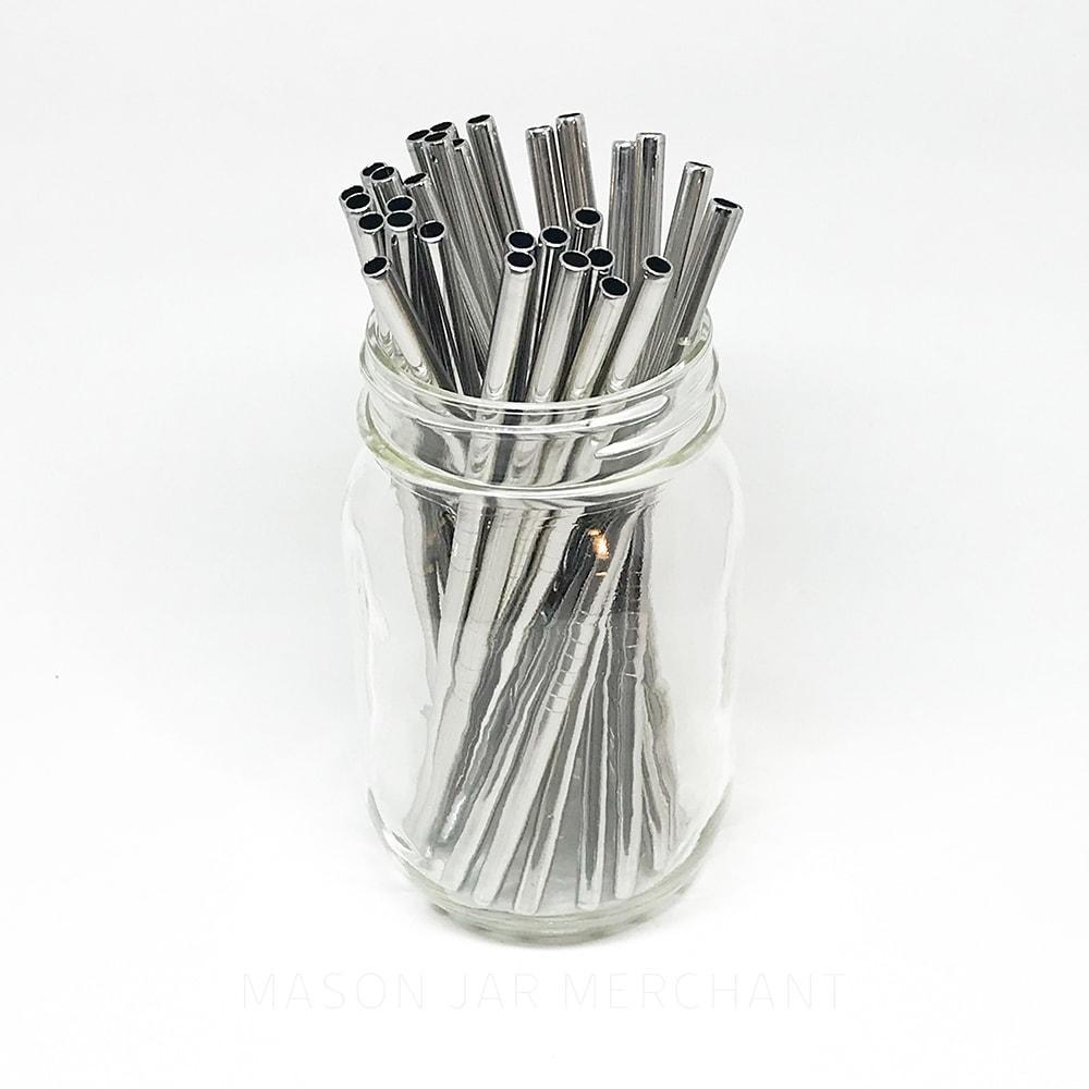 6.25 inch short straight silver stainless steel reusable straw