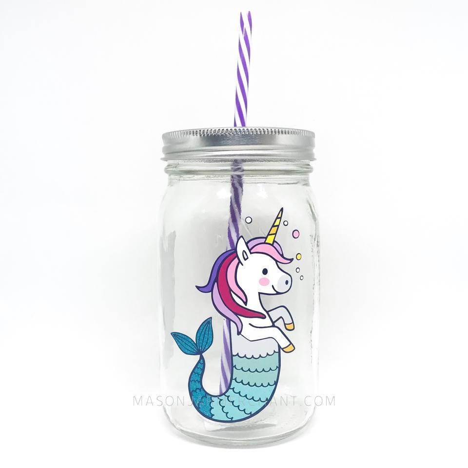 rainbow unicorn mermaid water bottle with reusable straw 32 oz