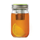 Jarware Mason Jar Tea Infuser Lid shown on a regular mouth mason jar with tea and lemon on a white background.