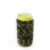 24 oz reusable glass mason jar tumbler with a lime green hippy cup lid. A camouflage (different shades of green) knit cozy covers the jar
