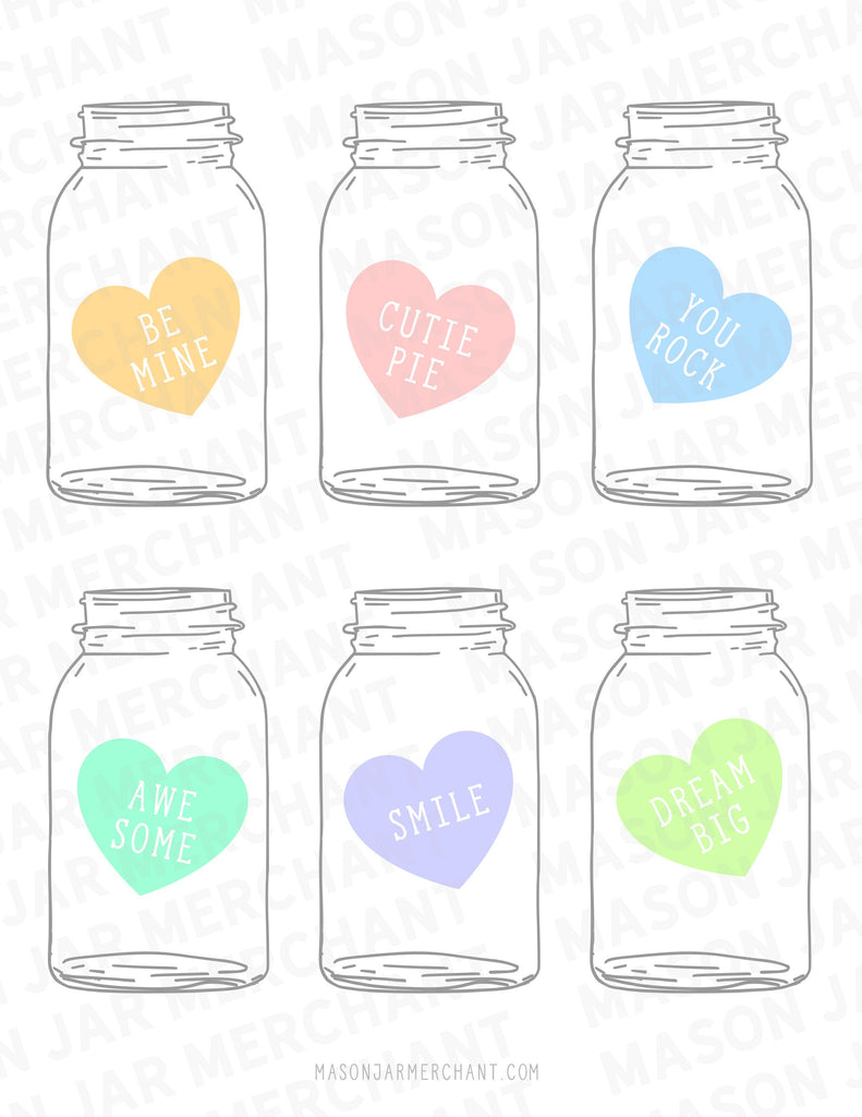 Printable Valentine Mason Jars Large Candy Hearts Color - All File Types