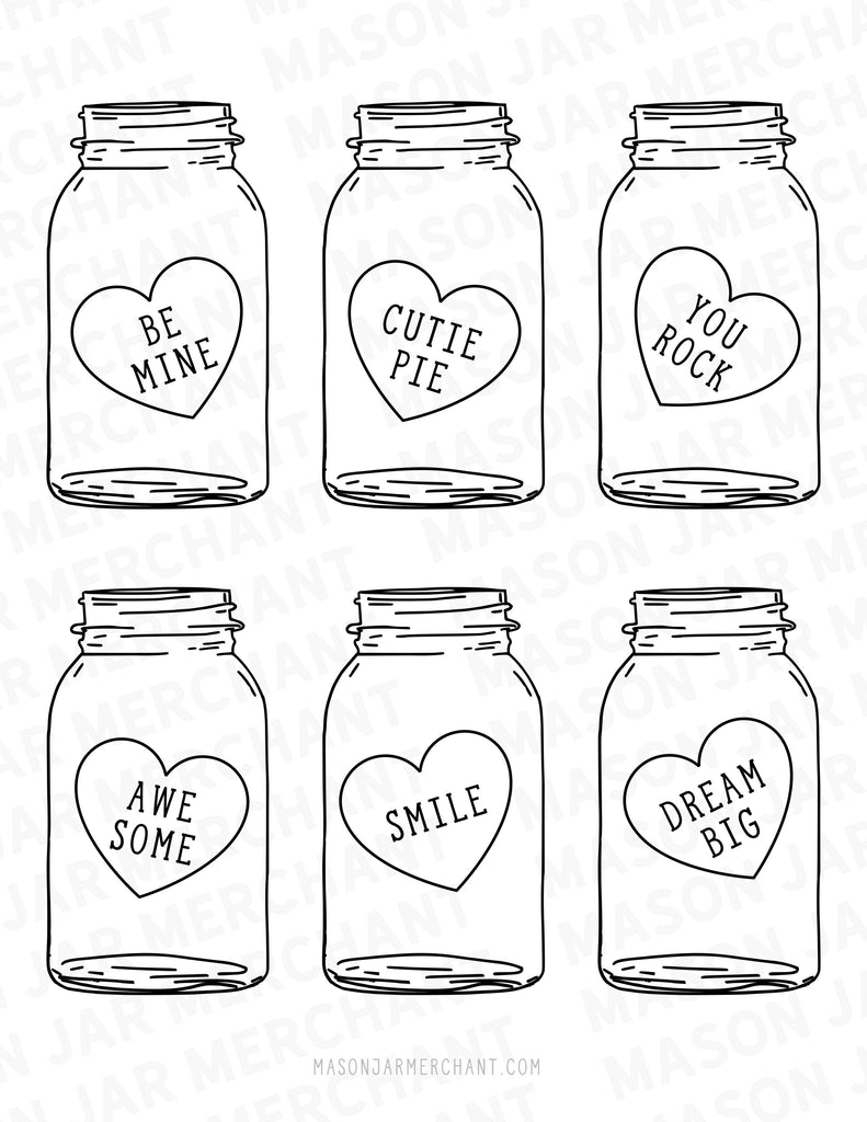 picture regarding Printable Valentines Black and White referred to as Printable Valentine Mason Jars Substantial Sweet Hearts .Studio3
