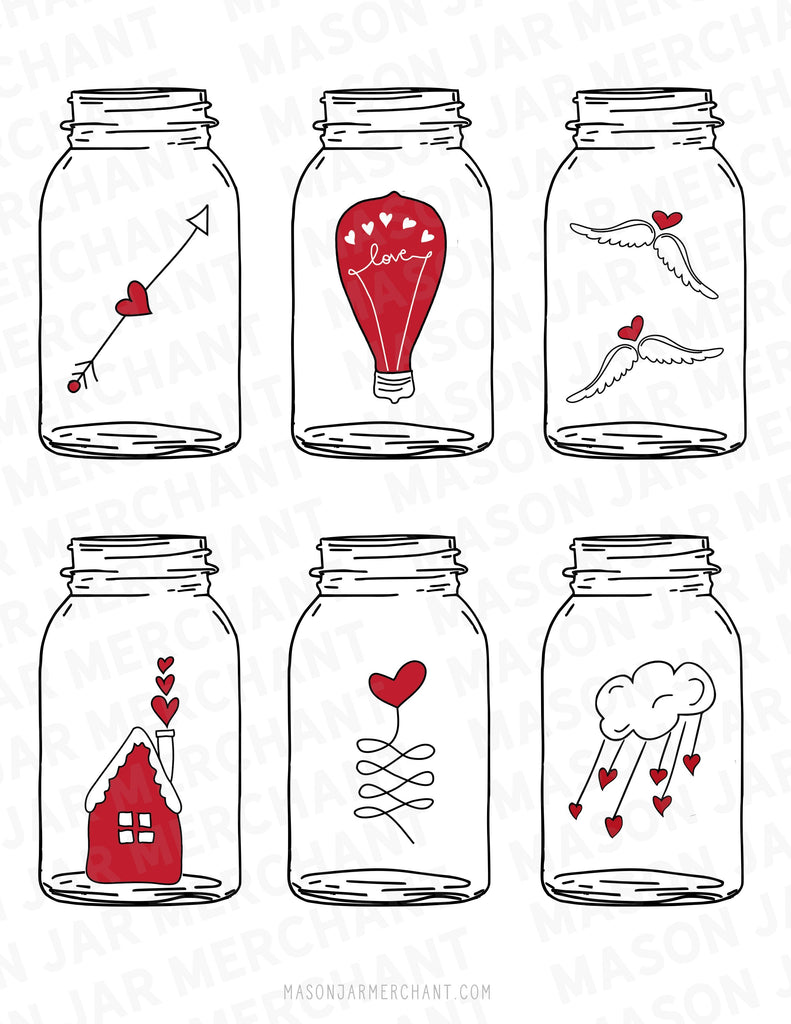 Printable Mason Jar Valentine's - All File Types