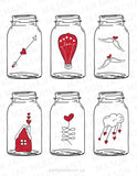 red and white mason jar shaped valentines download color and cut