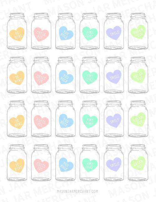 pastel candy heart mason jar shaped valentines PDF download color and cut and use as gift tags