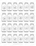 black and white candy heart mason jar shaped valentines PDF Studio3 and SVG download color and cut and use as gift tags
