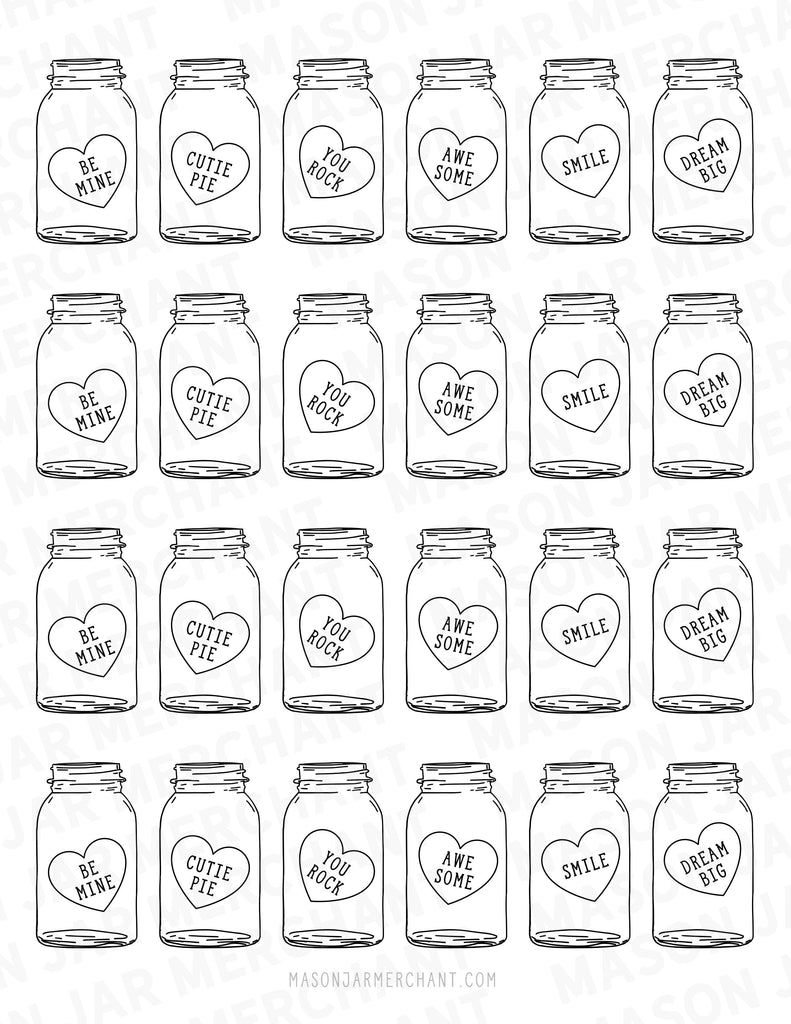 black and white candy heart mason jar shaped valentines Studio3 download color and cut and use as gift tags