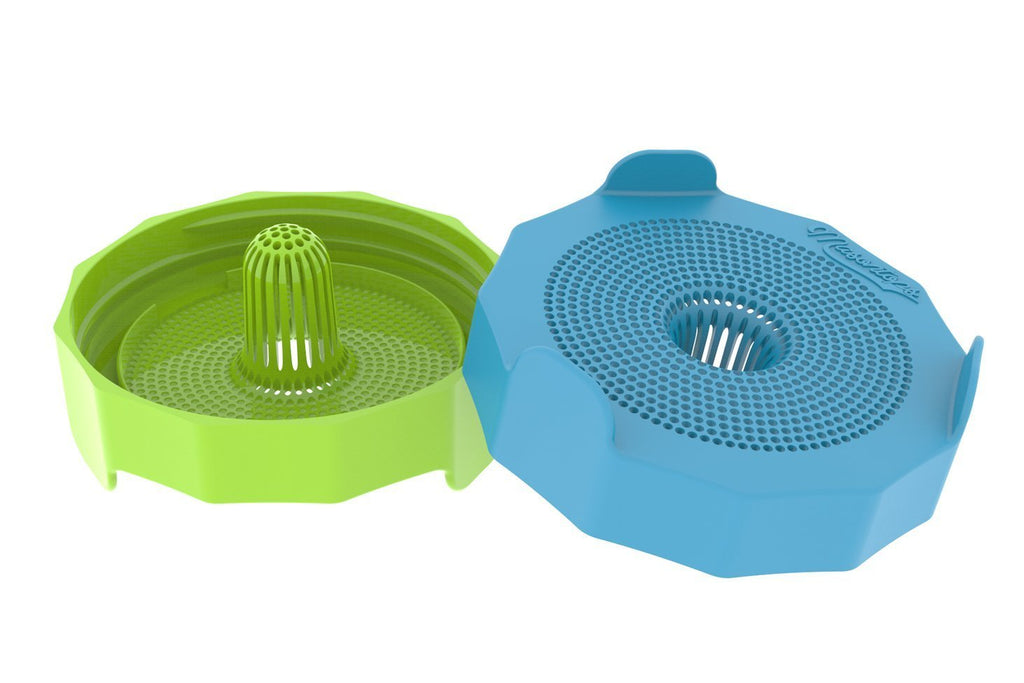 wide mouth green lid and wide mouth blue lid. Both lids are plastic strainers
