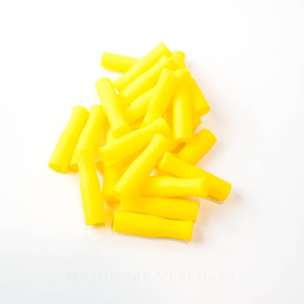 Yellow silicone straw tips for stainless steel straws, set against a white background.
