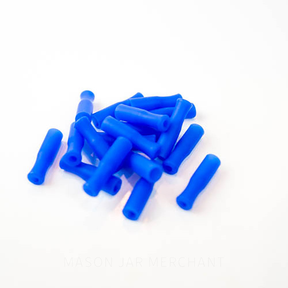 Blue silicone straw tips for stainless steel straws, set against a white background.
