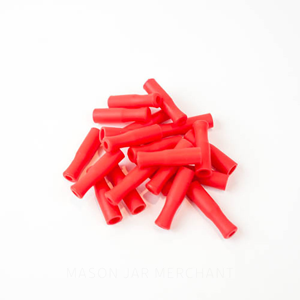 Red silicone straw tips for stainless steel straws, set against a white background.