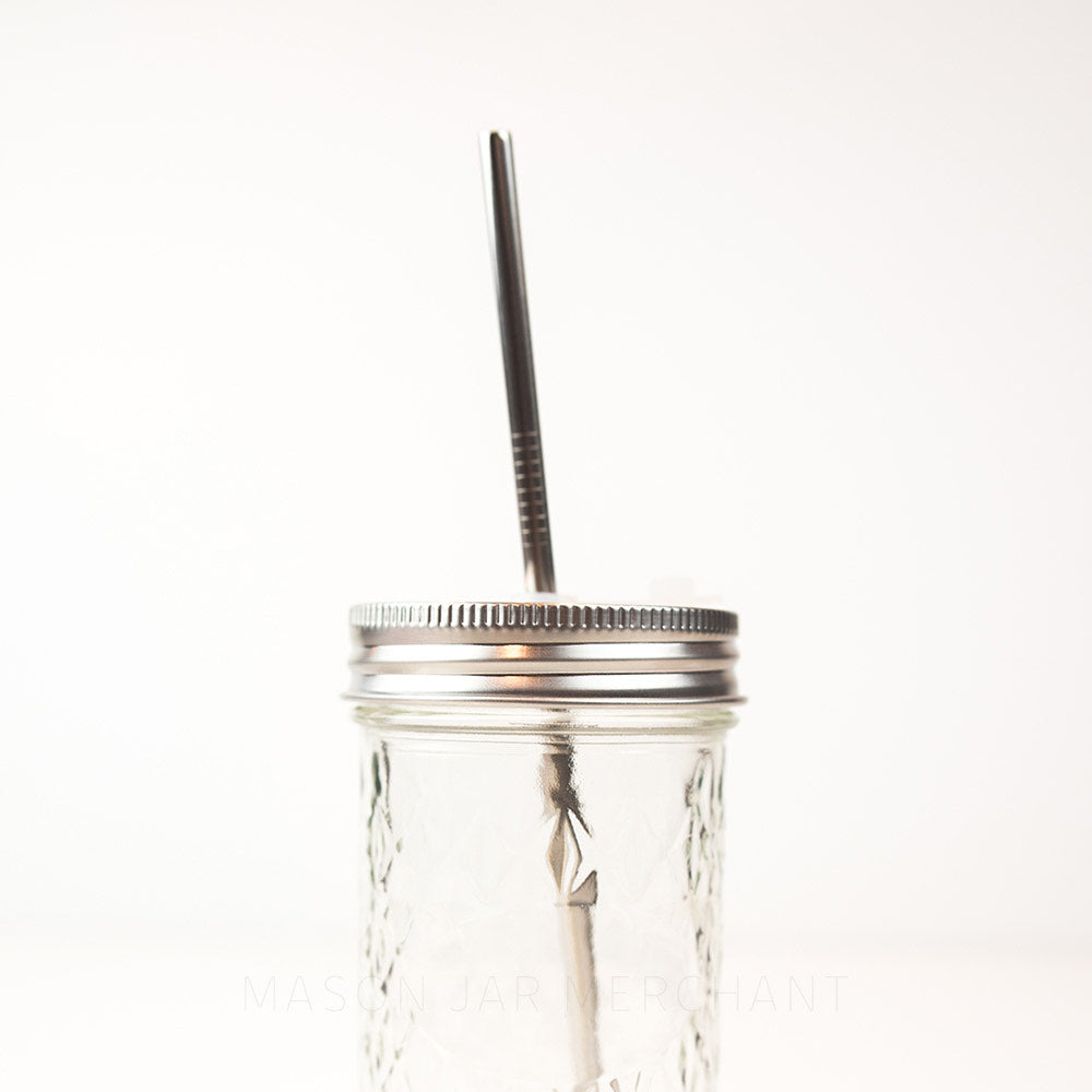 Regular mouth stainless steel mason jar drink lid with a silicone straw