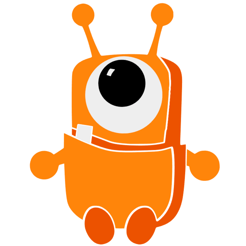 bright orange one-eyed little monster graphic