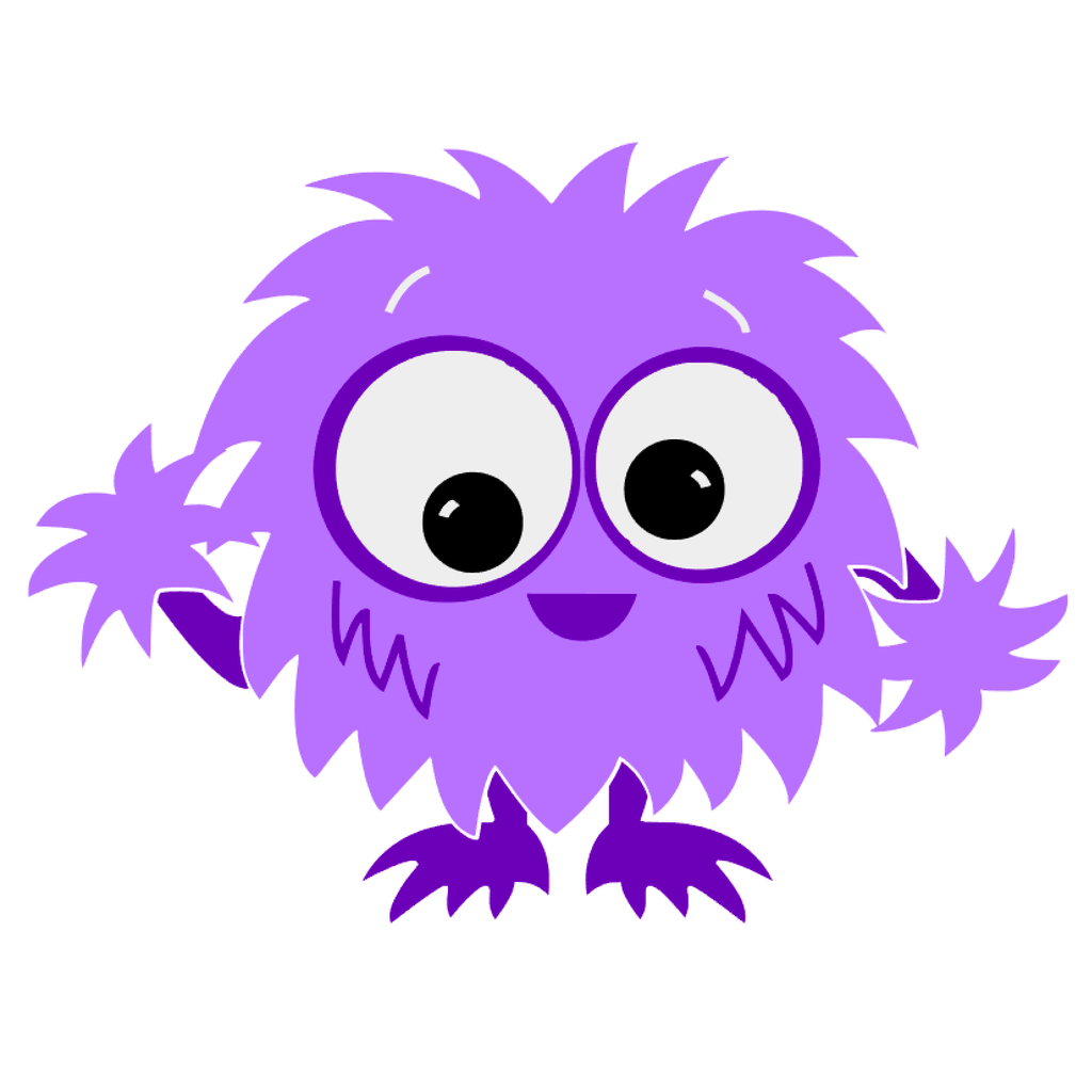bright purple fuzzy little monster graphic