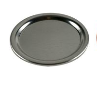 Plain silver wide mouth canning lid against a white background