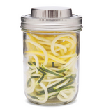 16 oz reusable glass mason jar with a stainless steel spiralizer lid