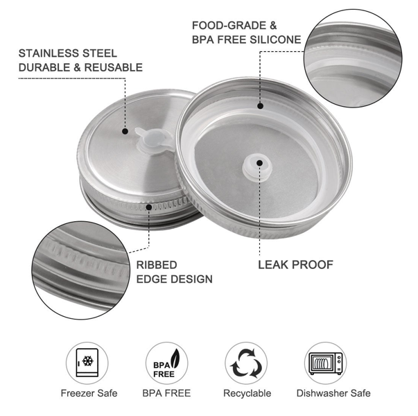 Diagram explaining the features of a stainless steel mason jar drink lid