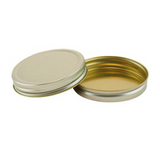 solid gold metallic wide mouth unlined lid on a white background