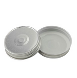 two solid metallic silver regular mouth lined lids on a white background