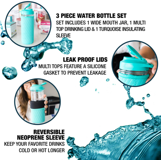 A picture of the facts about the aqua mason jar water bottle set