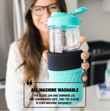 "A woman holds an aqua mason jar water bottle set as well as a fact underneath it that says ""All machine washable. The glass jar and drinking lid are dishwasher safe, and the sleeve is even machine washable!"""