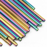 8.5 inch straight rainbow stainless steel reusable straw