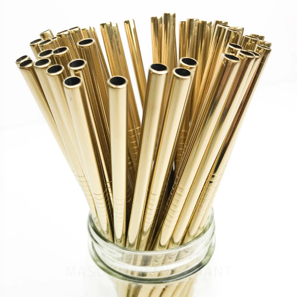 8.5 inch straight gold stainless steel reusable straw