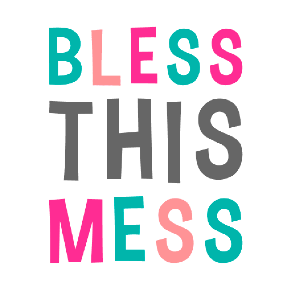 Bless This Mess graphic in teal coral hot pink and grey
