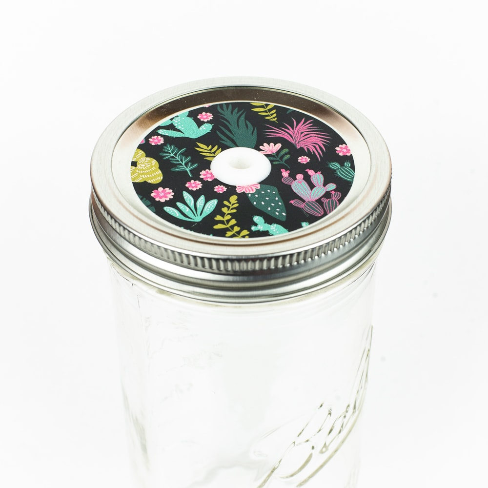 Patterned Mason Jar Straw Lid Cactus on Black