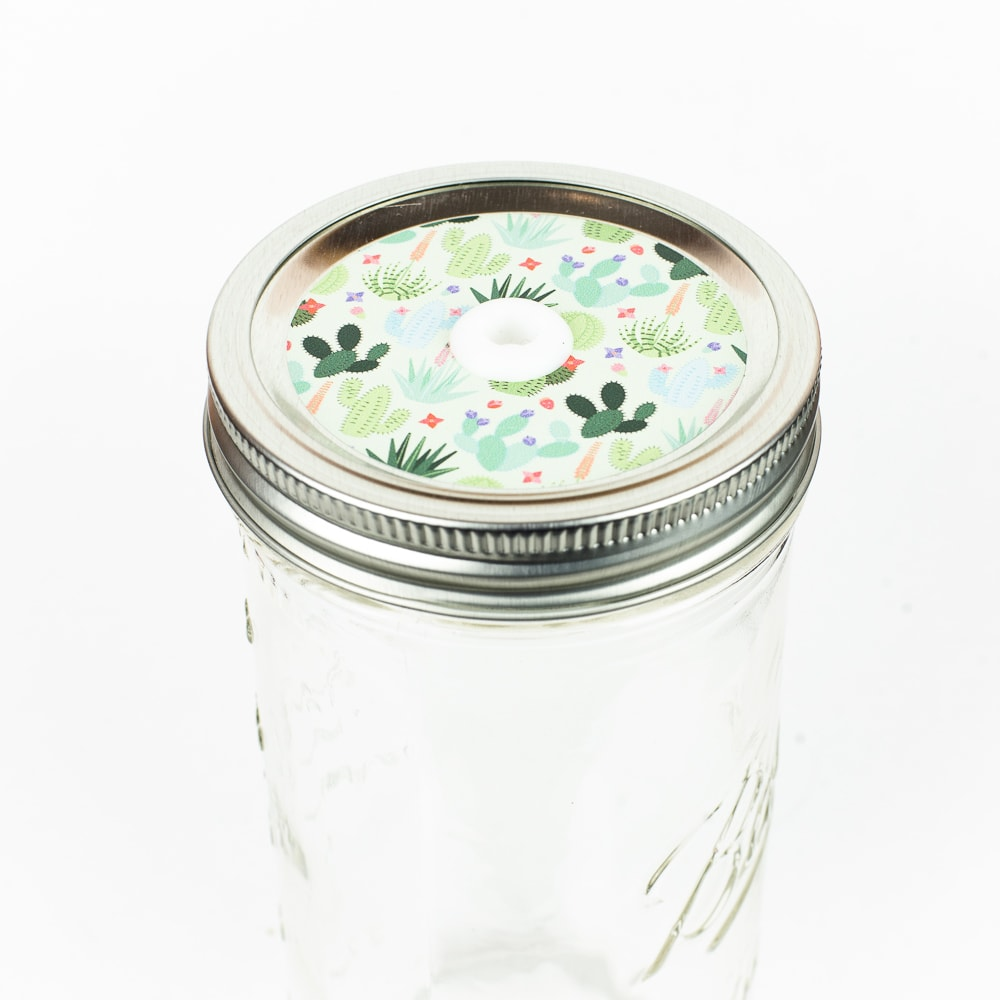 Patterned Mason Jar Straw Lid Cactus on White