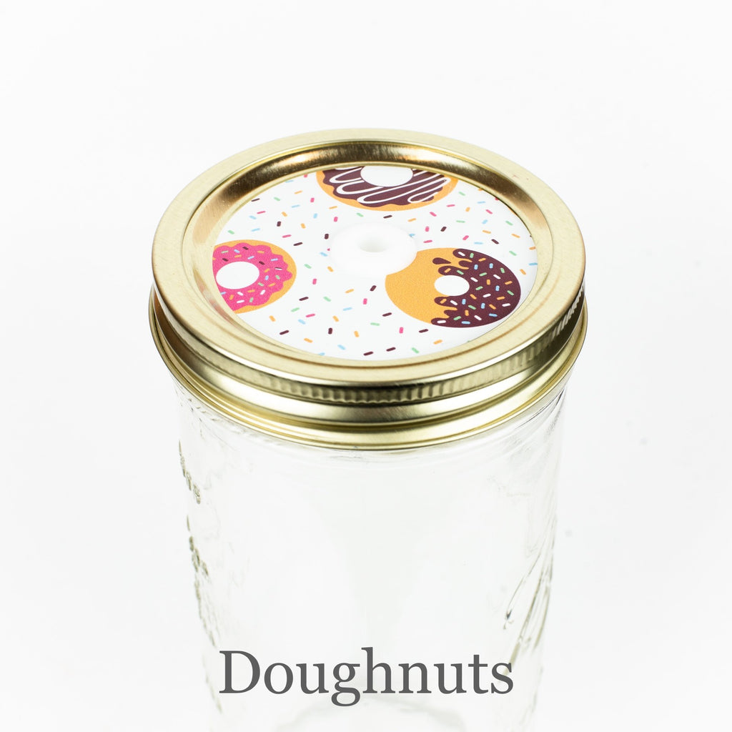 Patterned Mason Jar Straw Lid - Wide Mouth