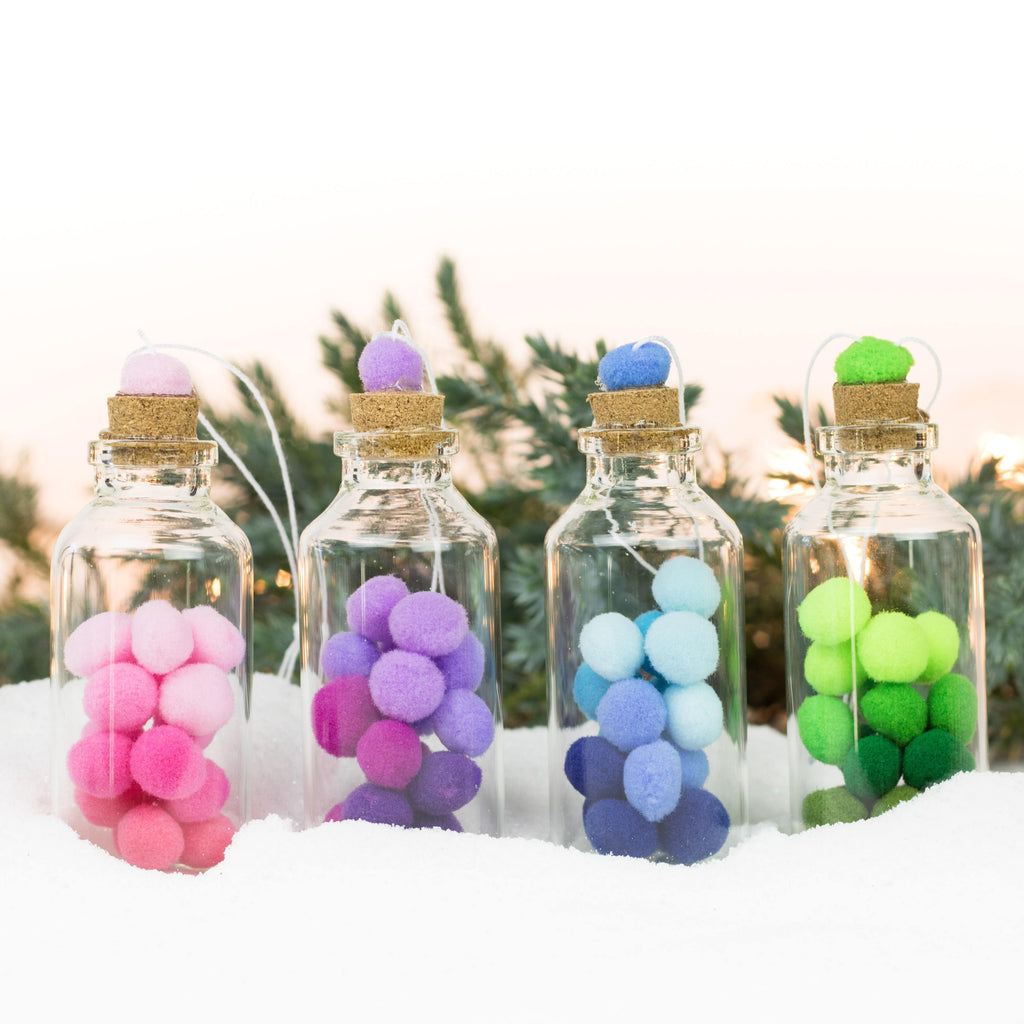 Bottle Ornaments - Lg - Multicolored Fluff Balls