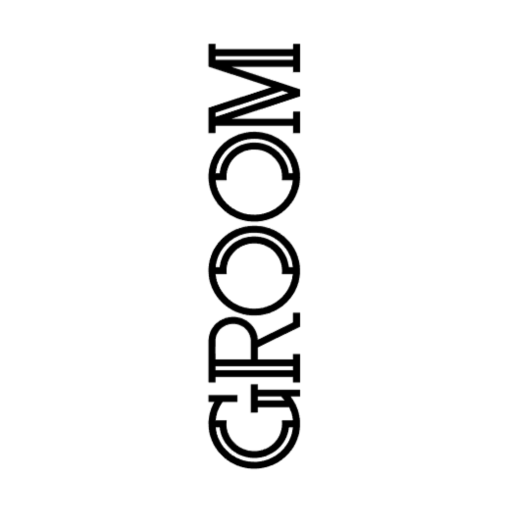 Groom in black block text graphic