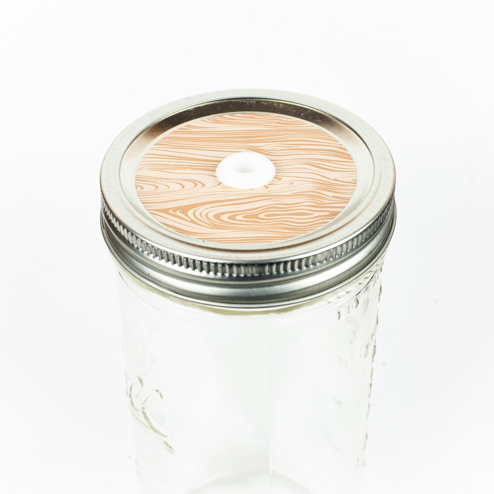 Patterned Mason Jar Straw Lid - Light Wood