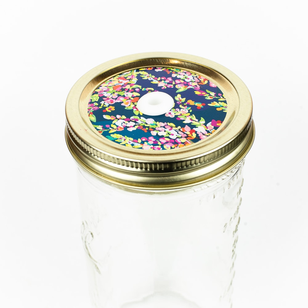 Patterned Mason Jar Straw Lid - Multicolored Flowers on Blue