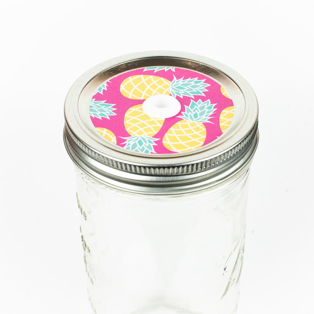 Patterned Mason Jar Straw Lid - Pineapples on Pink
