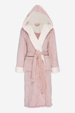Hooded Fleece Sherpa Robe - Bath - Nine Space