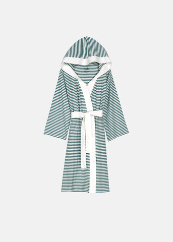 Knee Length Striped Jersey Knit Robe