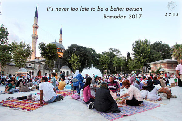 People sitting together in Ramadan to have iftar