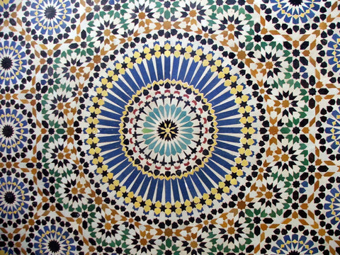 Islamic pattern on the ceiling focusing on circles
