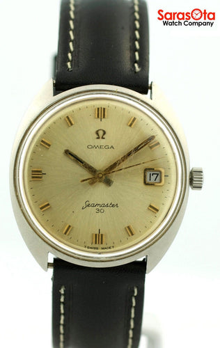 Vintage Omega Seamaster 30 Automatic SS Black Leather Swiss Dress Men's Watch