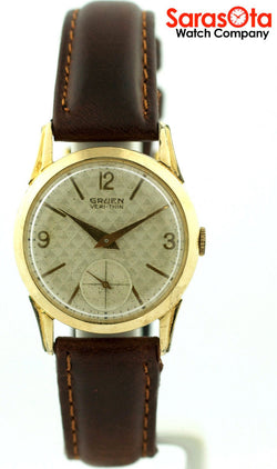 Gruen Vintage Veri-Thin 10K Gold Filled Bezel Brown Leather Strap Men's Watch