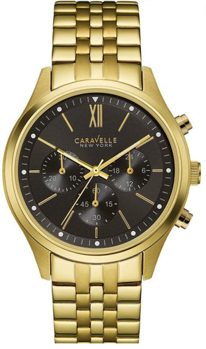Caravelle New York 44A108 Black Dial Chronograph Gold Tone Steel Men's Watch