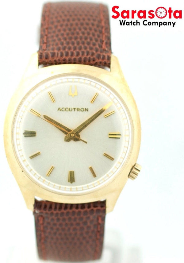 Vintage Bulova Accutron Gold Plated Silver Dial Tuning Fork Dress Men's Watch