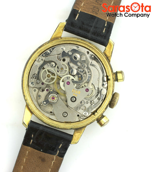 Vintage Elgin Chronograph Stainless Steel Leather Swiss Dress Men's Watch
